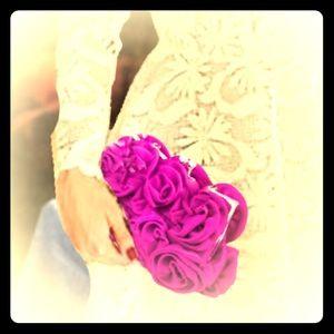 Purple rose clutch, hand bag, shoulder bag